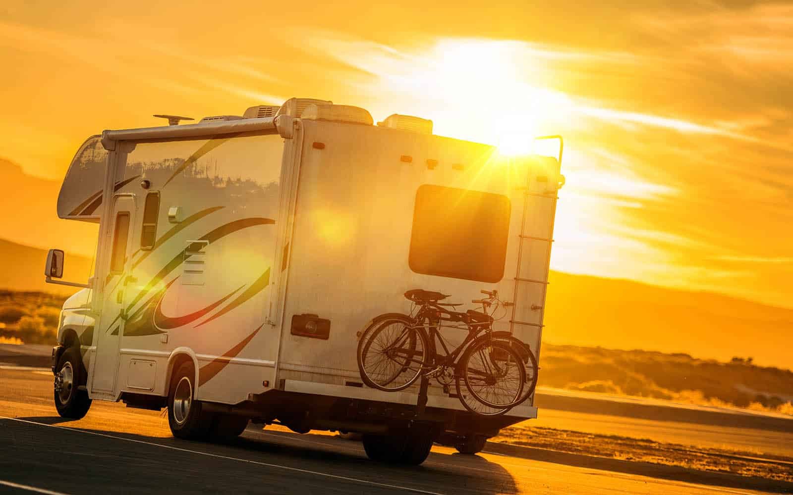 Camping in an RV During Sunset